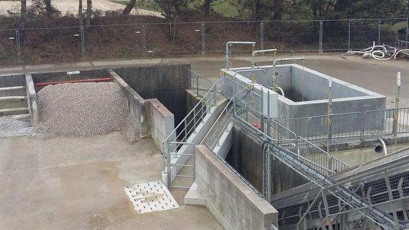 Bassin de décantation sur une centrale à béton CuBe